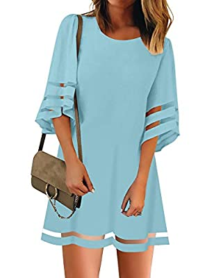 LookbookStore Women Casual Summer Crewneck Mesh Patchwork 3/4 Bell Sleeve Loose A-line Tunic Dress Light Blue Size Small