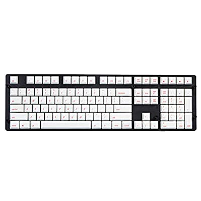Qisan Keycaps 108 Keys PBT Keycaps Set PBT Dye-Subbed Keycaps for Mechanical Keyboards-White Keycap With Red Letter