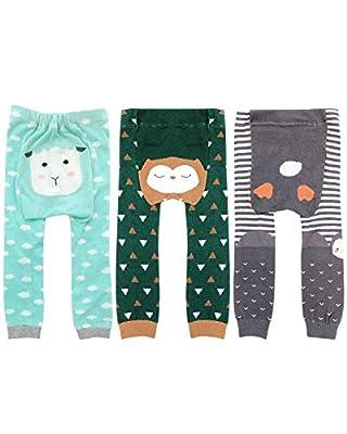 Wrapables Baby & Toddler Fun for All Leggings (Set of 3), Owl, Sheep, Penguin