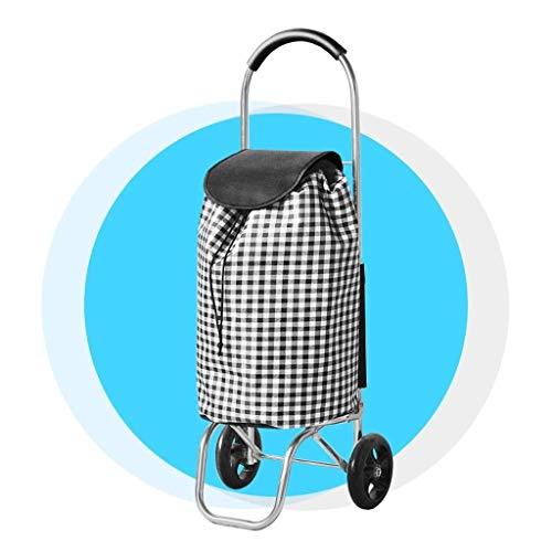 LQBDJPYS Lightweight Shopping Trolley With 2 Wheels Aluminum Folding Luggage Trolley luggage bags (Color : Plaid)