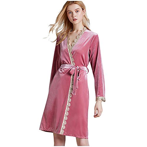 Dream Room Damen Bademantel Spitze Pyjama Ohne Kapuze Morgenmantel Weichen Frauen Goldener Samt Kimono Kleider Robe Bademäntel Langarm Strickjacke Nachthemd mit Gürtel
