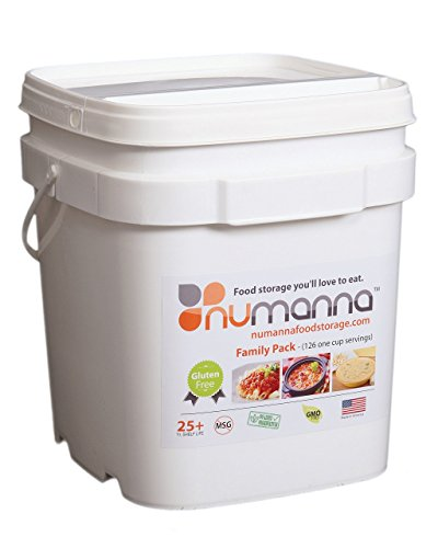 NuManna INT-NMFPGF 126 Meals, Emergency Survival Food Storage Kit, Separate Rations, in a Bucket, 25 Plus Year Shelf Life, GMO-Free & Gluten Free