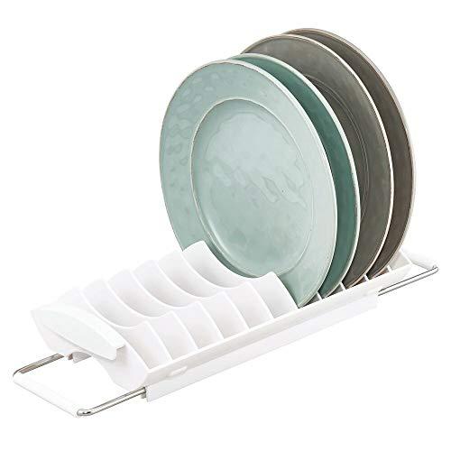 mDesign Escurridor de vajilla – Bandeja escurridora para el mueble de la cocina, la encimera o el fregadero – Secaplatos de plástico y acero inoxidable – blanco