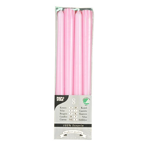 Papstar - Lote de 8 velas de estearina (22 mm de diámetro, 250 mm), color rosa claro