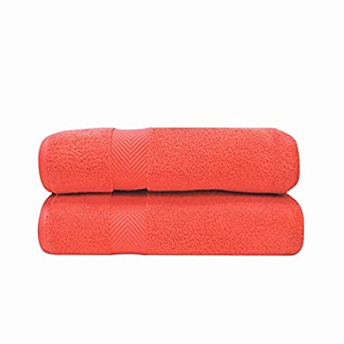 Superior Zero Twist 100% Cotton Bath Sheet Towels, Super Soft, Fluffy, and Absorbent, Premium Quality Oversized Bath Sheet Set of 2 - Coral, 34  x 68  each