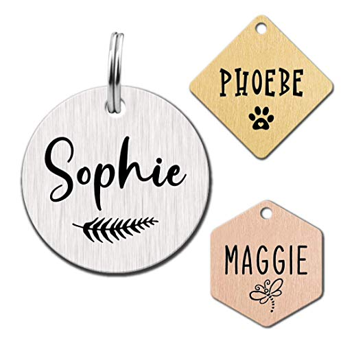 Stainless Steel Engraved Dog Name Tags, Two Sided Personalized ID Tag , Customizable Dog and cat Tags (Circle)
