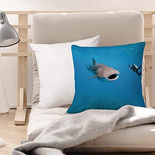 Funda de Cojines Suave Poliéster,Tiburón, tiburón ballena gigante y fotógrafo submarino en ,Funda de Almohada Cremallera Oculta Duradero Decoración para Sofá Cama Dormitorio Aire Libre Oficina 45x45cm