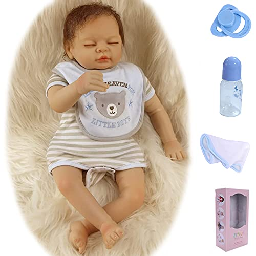 ZIYIUI Reborn Poupée bébé 22 inch 55 cm Yeux Fermés Garçon Reborn Bebe Réalité Silicone Souple Vinyle Nouveau-né Garçon Fait à la Main Jeune Fille Cadeau de Noël