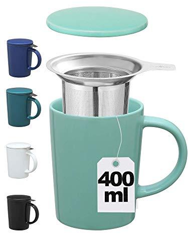 Taza para Te con Tapa y Filtro - Ceramica - XL 400ml Grande