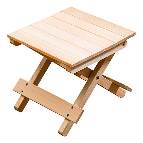 FASZFSAF Folding Step Bathroom Stool, Portable Outdoor Wood Chair Seat Foldable Fishing Chair, for Home Bathroom Kitchen Garden Camping