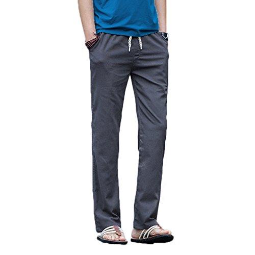 Elonglin Homme Pantalon en Lin de Loisirs Respirant avec Poches Taille Elastique Cordon de Serrage Gris Taille FR M (Asie XL)