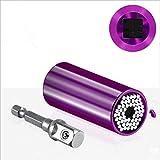Conjunto de cabezas de llave de torsión universal 7-19mm Set Hexagon Socket Manga Trinquete (Color : Purple)