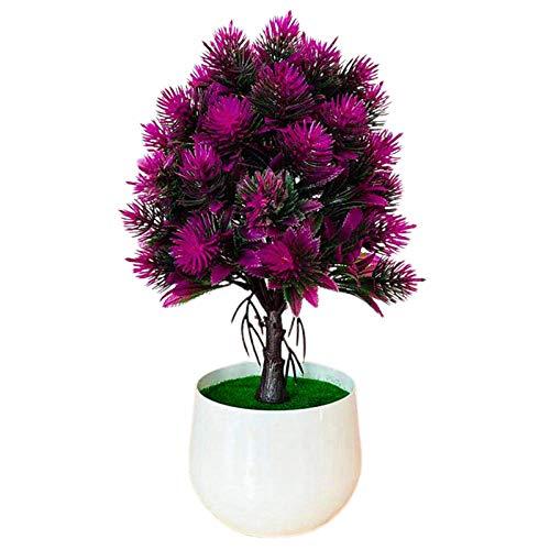 PINBinyee Plantas artificiales en interiores en macetas, maceta artificial resistente al agua, para manualidades, plástico, pequeño árbol, falso maceta para el hogar, color rojo púrpura