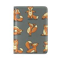 オレンジフォックスアート旅行男性女性のためのパスポートホルダー本革カバーケース