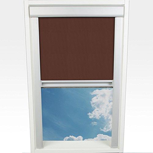 Liedeco Dachfensterrollo m. seitl. Führungsschiene 77,5 x 136,0 cm Fb. braun