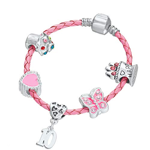 10th Birthday Pink Leather Charm Bracelet for Girls with Gift Box (18)