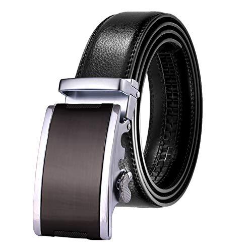 JINIU Men's Leather Belt Automatic Buckle 35mm Ratchet Dress Black Belts Boxed KT5