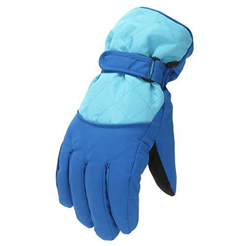 Manoplas de invierno cálidas, guantes de esquí para niños y niñas a prueba de viento, para deportes al aire libre, para niños de 9 a 14 años (9 a 14 años), color azul