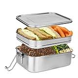 wolketon Lunchbox 1960ml, Brotdose 14.5x9.3x20.5cm, Doppelte Bento Box rostfreier Stahl auslaufsicher Metall Dichte, für Wandern Reisen/Arbeit/Schulkinder und Erwachsen