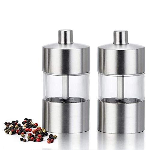 Mini Amoladora de Sal y Pimienta, Amoladora de 85 mm, Acero Inoxidable Ajustable, Juego de Molinillo Manual de Sal y Pimienta con núcleo de cerámica