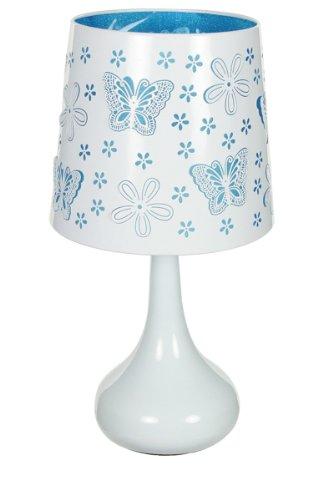 Lampe touch métal blanc motif papillon bleu