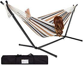 Best Choice Products Portable Indoor Outdoor 2-Person Cotton Double Hammock Set w/Steel Stand and Storage Case, Desert Stripes