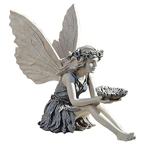 Girasole Fata Seduta Statua Fata Carina Mangiatoia per Uccelli Scultura Antica Statua Artigianale in Resina per Casa Ornamenti da Tavola Giardino Cortile Arte Portico Decorazioni per Esterni