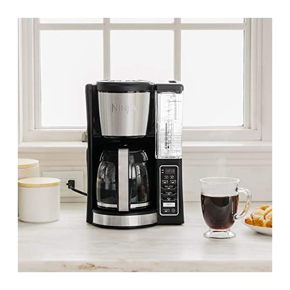 Ninja 12-Cup Programmable Coffee Maker with Classic and Rich Brews, 60 oz. Water Reservoir, and Thermal Flavor… 3 Hotter brewing technology: Advanced boiler for a perfectly hot cup of coffee Wake upto hot coffee 24 hour programmable delay brew allows you to prepare your brew upto a day in advance Keep coffee fresh and flavorful upto 4 hours with the adjustable warming plate