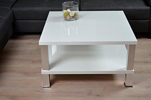 Euro Tische Couchtisch 80x80cm Hochglanz weiß lackiert Lack Tisch Kratzfest Beistelltisch 42 cm