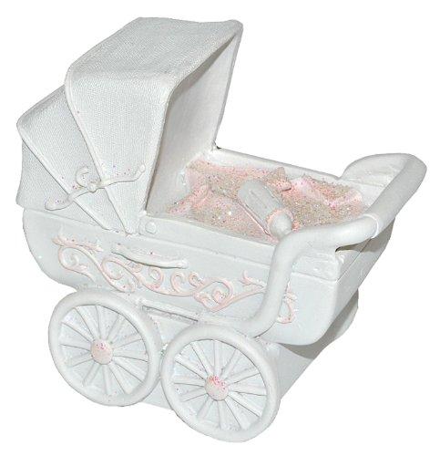 alles-meine.de GmbH Spardose Kinderwagen - rosa für Baby ´s Mädchen - stabile Sparbüchse aus Kunstharz - Geldgeschenk Baby zur Geburt Taufe Geld Sparschwein