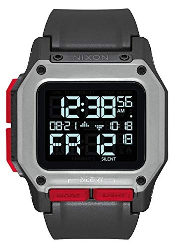 NIXON Regulus A1180 - Black/Red - 100m Water Resistant Men's Digital Sport Watch (46mm Watch Face, 29mm-24mm Pu/Rubber/Silicone Band)