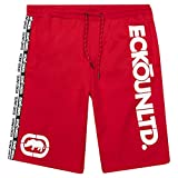 Mens Workout Shorts with Pockets - Elastic Waist Sweat Shorts for Men by ECKO Red