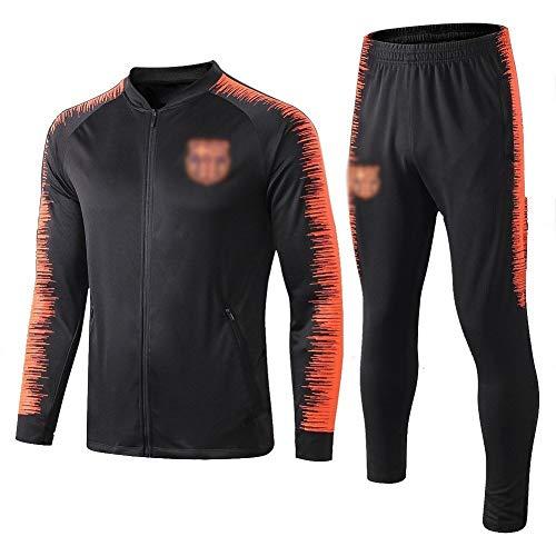 ZH~K Traje de entrenamiento de club de fútbol europeo para hombre, manga larga, transpirable, ropa deportiva (parte superior + pantalones) – Sudaderas para hombre A1140 (color: negro, tamaño: L)