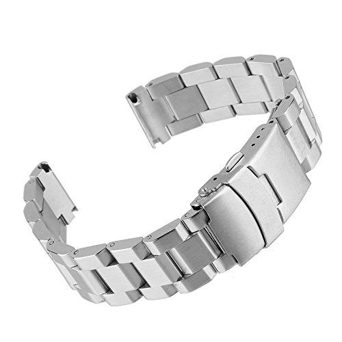 Beauty7 24mm Breit Silber Edelstahl Uhrenarmband Uhrenarmbänder Uhrband Ersatzarmband mit Faltschließe Schließe Schnalle Metall Uhr Armband