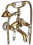 Grifos de bañera Grifo de bañera Grifo de lujo Titanio Oro Zirconio Oro Plata Cromado Todo cobre Tipo de teléfono de doble asa con inicio rápido, juego de porcelana dorada y azul