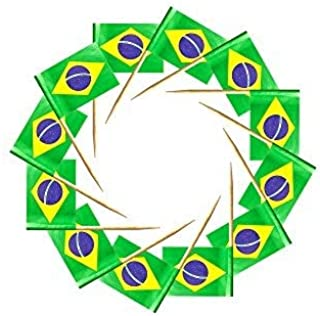 200 Pcs Toothpick Cupcake Toppers Brazil Brazilian Flag,Mini Fruit Food Toothpick Flag,Cocktail Party Dinner Celebration D...