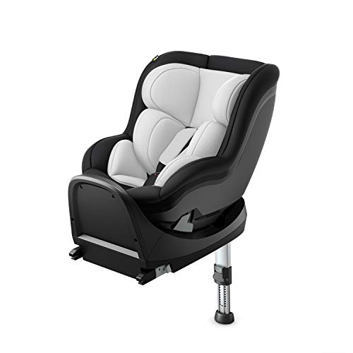 Hauck iPro Kids Set i-Size Reboard Kindersitz ab Geburt bis 18 kg mit Isofix Basis, mitwachsender Baby Autositz entgegen der Fahrtrichtung, mit Neugeborenen Einlage, lunar
