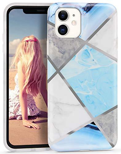 Imikoko Hülle für iPhone 11 Glitzer Marmor Weich Silikon Handyhülle Stein Marble Schlank TPU Bumper Handytasche Flexible Schutzhülle Soft Back Cover Gummi Dünn (Blau)