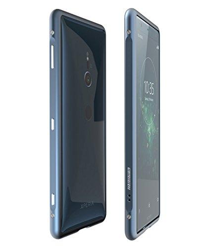 Sony Xperia XZ2【SWORD】アルミバンパー ケース ストラップホール付 ソニー エクスペリア XZ プレミアム メタル アルミバンパー (Sony Xperia XZ2, ブルー)