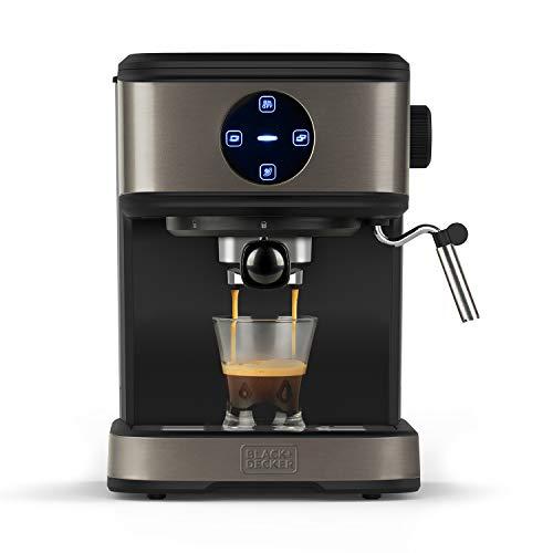 BLACK+DECKER BXCO850E - Cafetera espresso, 20bar, 1 o 2 cafés, función vapor, paro automático, cantidad programable, sistema extra cream, 1.5l, acabado antihuellas en acero inox, 850W