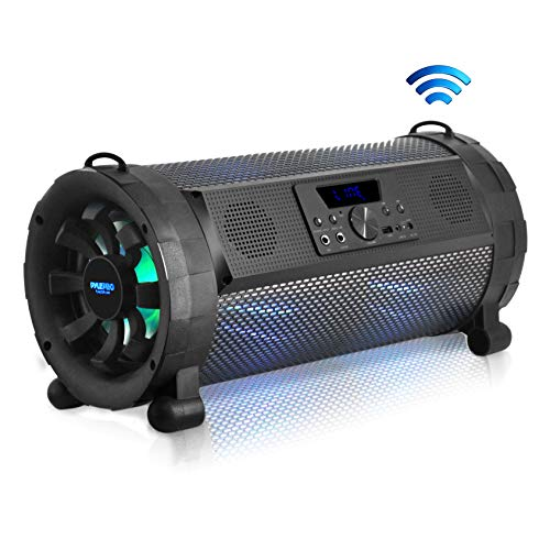 Pyle Bluetooth Boombox Street Blaster Stereo Speaker - Portable Wireless Power FM Radio / MP3 System w/ Remote, LED Lights & Rechargeable battery - PBMSPG190