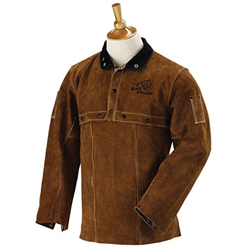 "Black Stallion 220CS Cowhide Welding Cape Sleeve w/20"" Bib Combo, Medi"