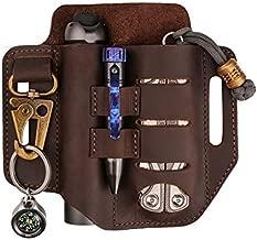 VIPERADE PJ13 Plus Multitool Sheath for Belt, EDC Pocket Organizer for Men, Leather Sheath with Key Holder, Flashlight Holder, Pen Holder, Tools Sheath Knife Sheath for Leatherman (Brown)