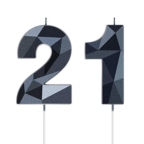 21st Number Birthday Candles 3D Diamond Shape Numeral Candles Happy Birthday 21 Candles Cake Topper for Birthday Wedding Decoration Theme Party Anniversary, 2 Inch (Black)