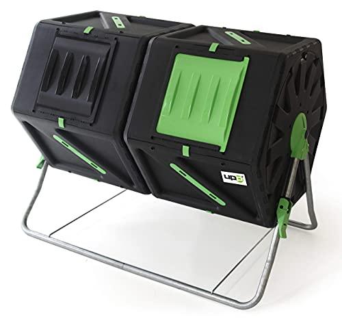 UPP Trommel-Komposter 2 Kammern je 105 L | Schnellkomposter,Composter für Bio- und Garten-Abfälle | Thermokomposter mit interne Belüftung-beschleunigt Herstellung von Kompost/Bio-Dünger | schwarz-grün