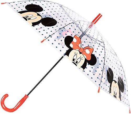 KKK Ombrello Automatico, 75 cm, per Ragazze e Ragazzi Trasparente 75 cm, Minnie & amp;Topolino - Trasparente