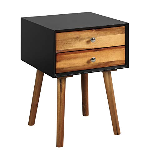 COSTWAY Nachttisch mit 2 Schubladen, Nachtkommode Nachtschrank Nachtkonsole Beistelltisch Telefontisch 40x40x59cm