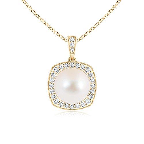 milgrain-edged perla vintage collana con pendente con diamante Halo e Oro giallo, cod. ANG-P-SP1004FWPRD-YG-AAA-9