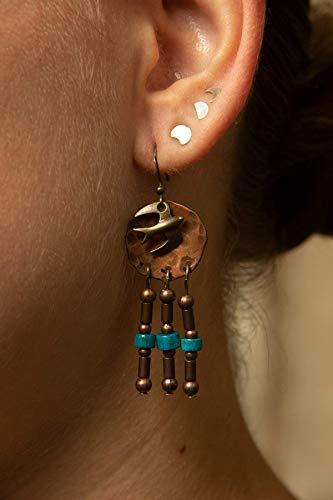 Handgemachte Türkis Kupferscheibe Ohrringe EFW04