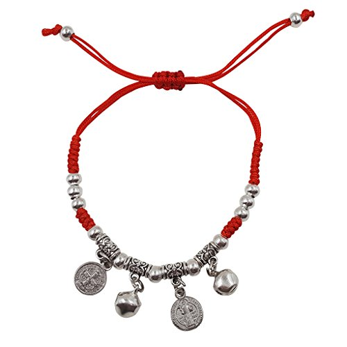 Treasure4U-store Saint Benedict Medal Bracelet Red String Adjustable Evil Protection Amulet for Women